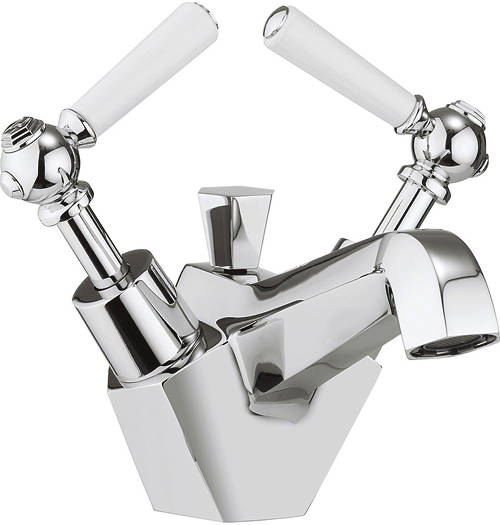 Additional image for Basin Mixer Tap With White Lever Handles.