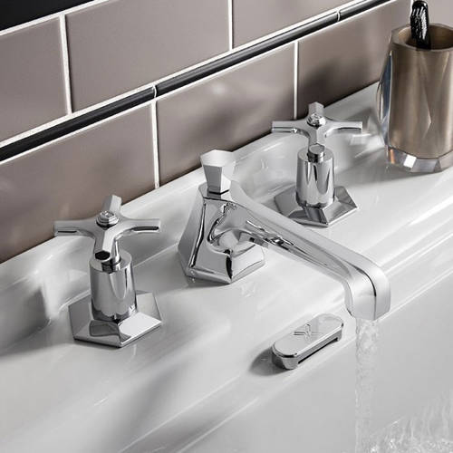 Additional image for 3 Hole Basin Tap With Crosshead Handles.