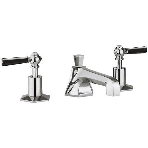 Additional image for 3 Hole Basin Tap With Black Lever Handles.