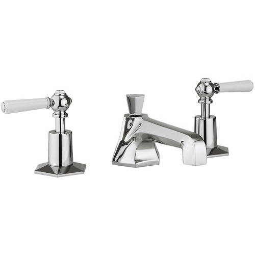 Additional image for 3 Hole Basin Tap With White Lever Handles.