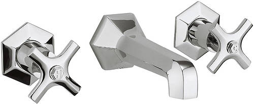 Additional image for Wall Mounted 3 Hole Basin Tap With Crosshead Handles.