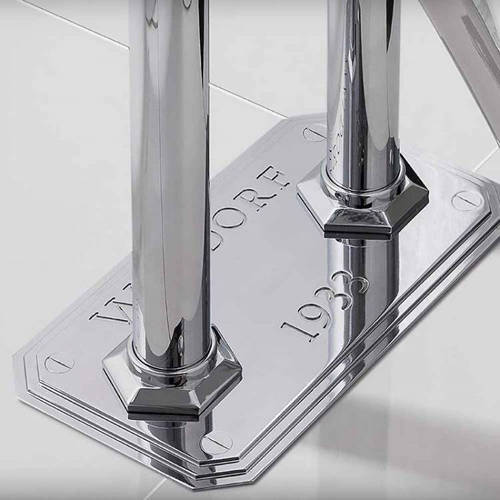 Additional image for Floorstanding Bath Filler Tap With White Lever Handles.