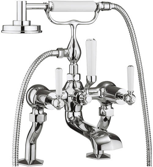 Additional image for Bath Shower Mixer Tap With White Lever Handles.