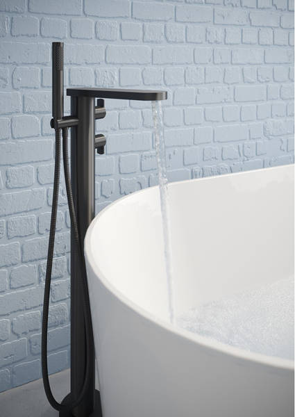 Additional image for Floor Standing Thermostatic Bath Shower Mixer Tap (M Black).