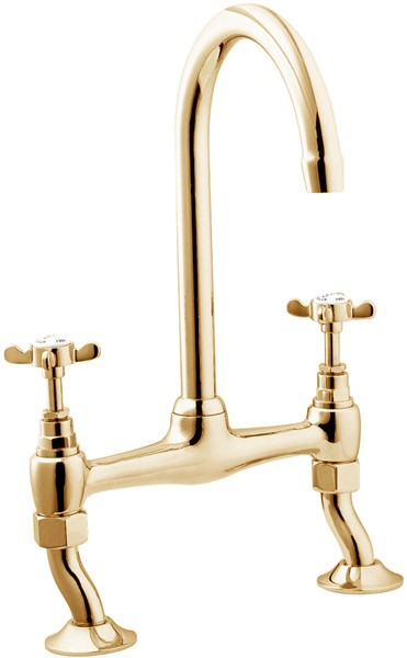 Additional image for Bridge Sink Mixer Tap With Swivel Spout (Gold).