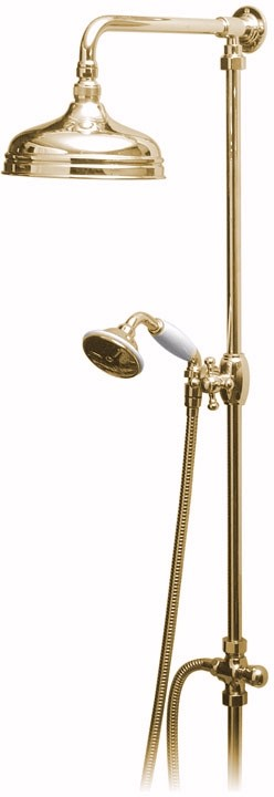 "Additional image for Traditional rigid riser kit in gold with 8"" head."