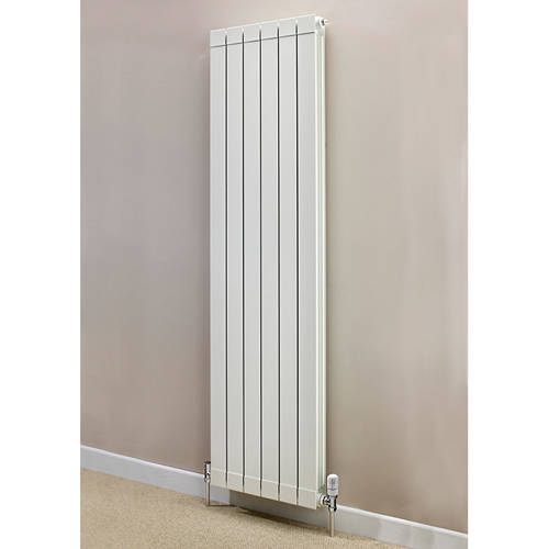 Additional image for Vertical Aluminium Radiator & Brackets 1446x340 (White).