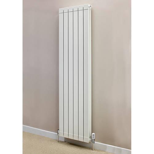 Additional image for Vertical Aluminium Radiator & Brackets 1446x500 (White).