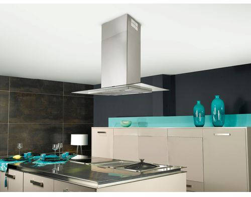 additional image for glass linear island cooker hood 90cm s steel