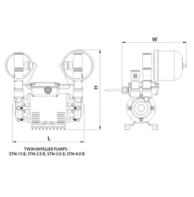 Additional image for STN-1.5B Twin Ended Shower Pump (1.5 Bar, Universal).