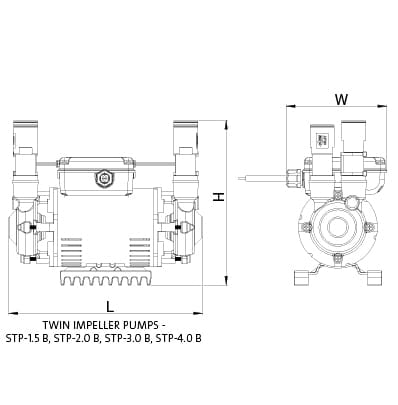 Additional image for STP-3.0B Twin Ended Shower Pump (3.0 Bar, Positive).