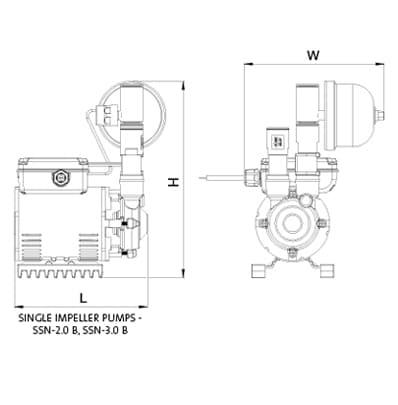 Additional image for SSN-3.0B Single Ended Shower Pump (3.0 Bar, Universal).