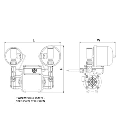 Additional image for STR2-2.0CN Twin Ended Shower Pump (2.0 Bar, Universal).