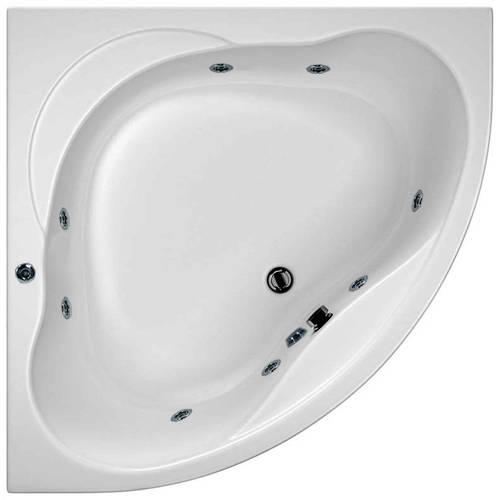 Additional image for Laguna Corner Whirlpool Bath With 8 Jets & Panel, 1200x1200mm.