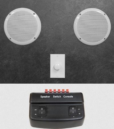 Additional image for Steam Proof Speaker Kit With Switch Box & Speakers.