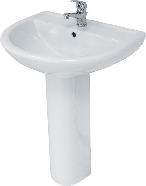 Additional image for Basin & Pedestal (1 Tap Hole).  Size 560x445mm.