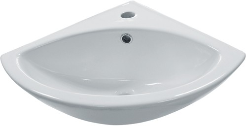 Additional image for Corner Basin & Brackets (1 Tap Hole).  Size 370x370mm.