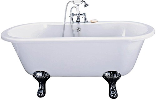 Additional image for Grosvenor Double Ended Roll Top Bath With Traditional Feet.  1500mm.