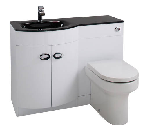 Additional image for Vanity Unit Pack With BTW Unit & Black Glass Basin (LH, White).