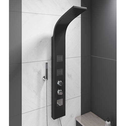 Additional image for Thermostatic Shower Panel With Jets (Black).