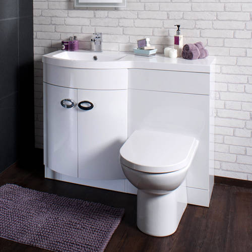 Additional image for Vanity Unit Pack With BTW Unit & White Basin (LH, White).