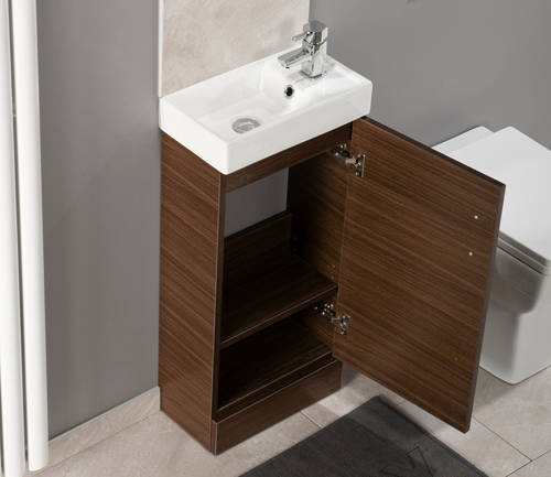 Additional image for Compact Vanity Unit With Ceramic Basin (Walnut).