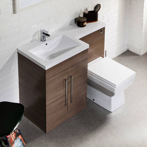 Additional image for L Shaped Vanity Pack With BTW Unit & Basin (LH, Medium Oak).
