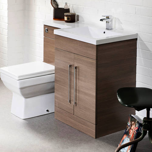 Additional image for L Shaped Vanity Pack With BTW Unit & Basin (RH, Medium Oak).