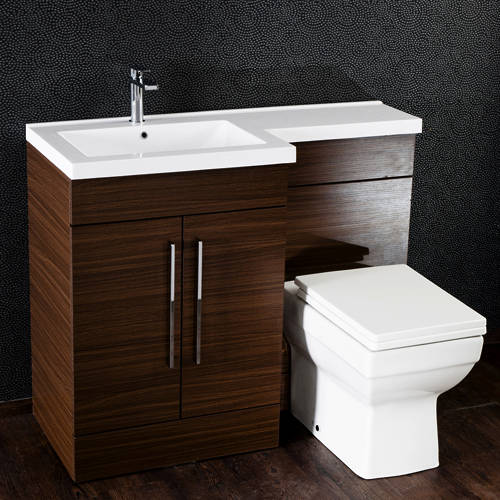 Additional image for L Shaped Vanity Pack With BTW Unit & Basin (LH, Walnut).