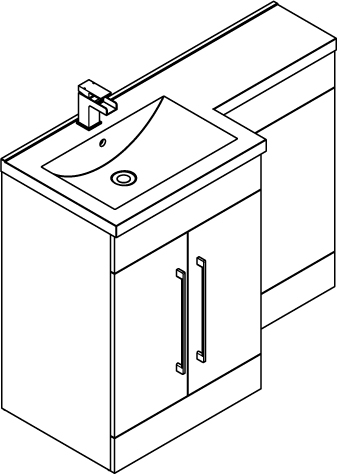 Additional image for L Shaped Vanity Pack With BTW Unit & Basin (LH, Anthracite).