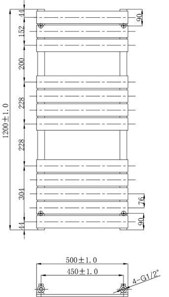 Additional image for Swift Heated Towel Radiator 1200x500mm (Chrome).