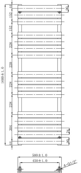 Additional image for Swift Heated Towel Radiator 1600x500mm (Chrome).