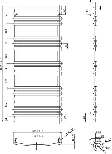 Additional image for Orchid Towel Radiator 1200x500mm (White).