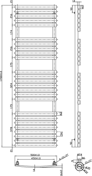 Additional image for Orchid Towel Radiator 1700x500mm (White).