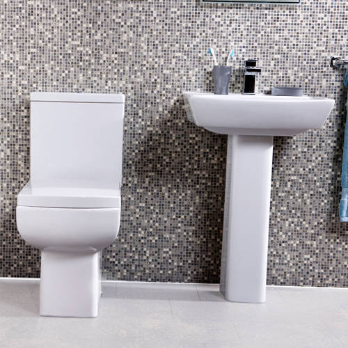 Additional image for Daisy Lou Suite With Flush To Wall Toilet, Seat, Basin & Full Pedestal.