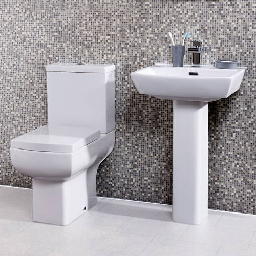 Additional image for Daisy Lou Suite With Close Coupled Toilet, Seat, Basin & Full Pedestal.