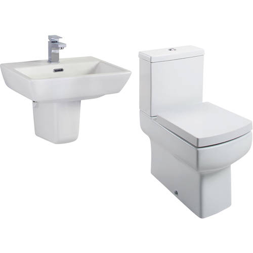 Additional image for Daisy Lou Suite With Flush To Wall Toilet, Seat, Basin & Semi Pedestal