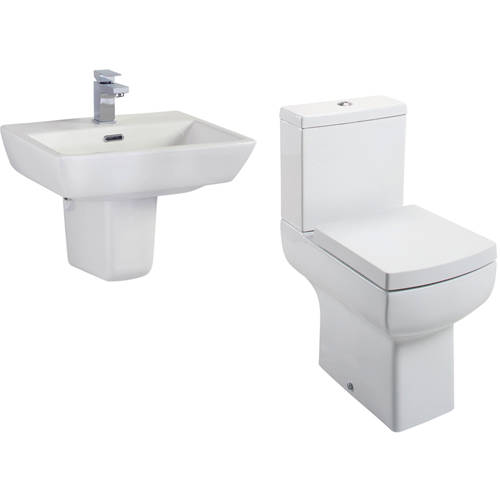 Additional image for Daisy Lou Suite With Comfort Height Toilet, Seat, Basin & Semi Pedestal
