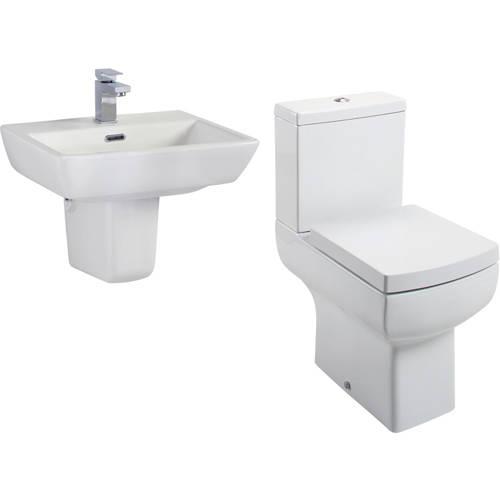 Additional image for Daisy Lou Suite With Close Coupled Toilet, Seat, Basin & Semi Pedestal