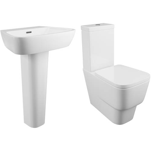 Additional image for Dearne Bathroom Suite With Toilet, Cistern, Seat, Basin & Full Pedestal.