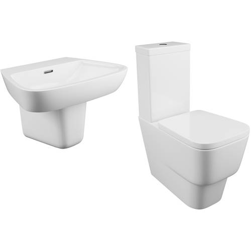 Additional image for Dearne Bathroom Suite With Toilet, Cistern, Seat, Basin & Semi Pedestal