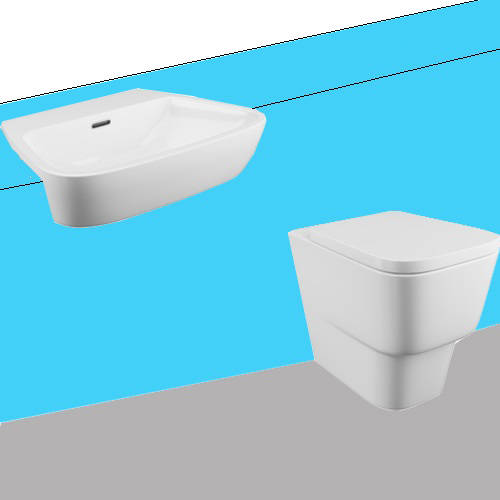 Additional image for Dearne Bathroom Suite With BTW Pan & Semi Recessed Basin.