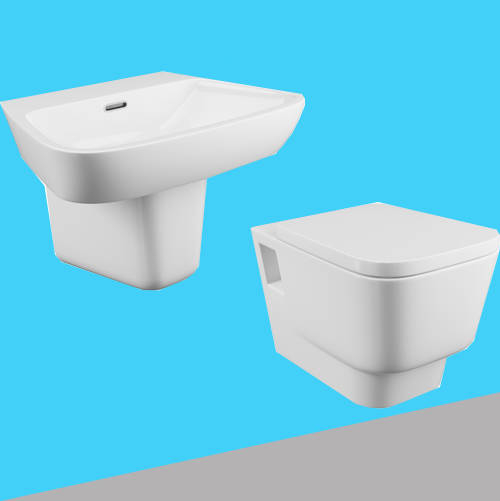 Additional image for Dearne Bathroom Suite With Wall Hung Pan, Basin & Semi Pedestal.