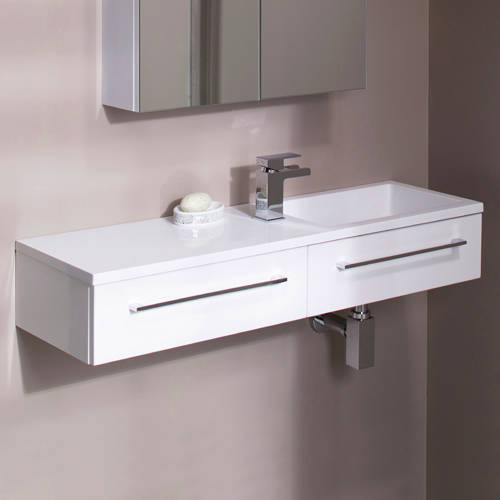 Additional image for 1000mm Vanity Unit With Drawer & Basin (Gloss White).