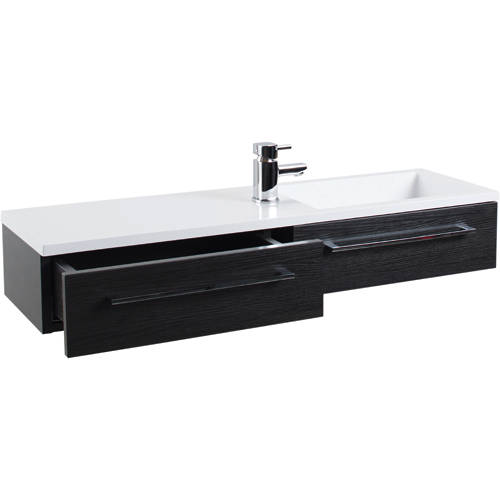Additional image for 1000mm Vanity Unit With Drawer & Basin (Black Ash).