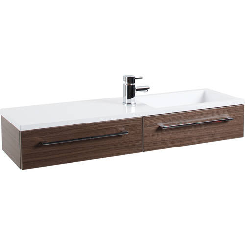 Additional image for 1000mm Vanity Unit With Drawer & Basin (Walnut).