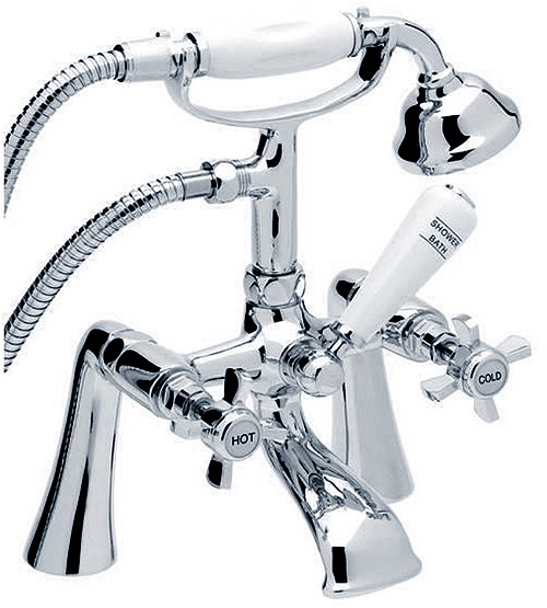 Traditional Bath Shower Mixer Tap With Shower Kit Chrome