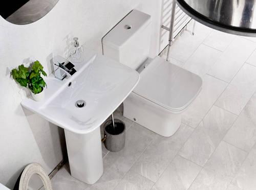 Additional image for Fair Bathroom Suite With Toilet, Slimline Seat, Basin & Pedestal.