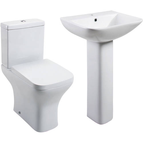 Additional image for Fair Bathroom Suite With Toilet, Wrapover Seat, Basin & Full Pedestal.