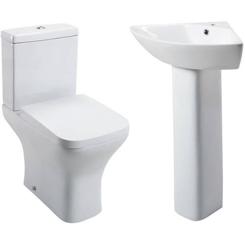 Additional image for Fair Bathroom Suite, Toilet, Wrapover Seat, Corner Basin & Pedestal.